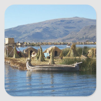 Peru: Island on Lake Titicaca Square Sticker
