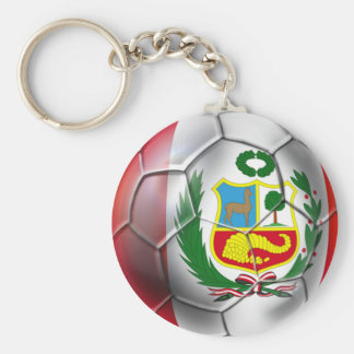 Peru La Blanquirroja La Rojiblanca soccer ball Basic Round Button Key Ring