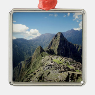 Peru, Machu Picchu, the ancient lost city of 2 Silver-Colored Square Decoration