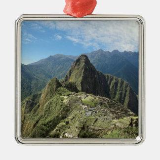 Peru, Machu Picchu, the ancient lost city of 3 Silver-Colored Square Decoration