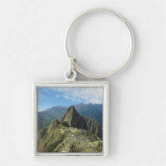Peru, Machu Picchu, the ancient lost city of 3 Silver-Colored Square Key Ring