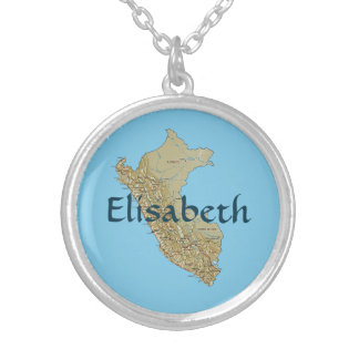 Peru Map + Name Necklace