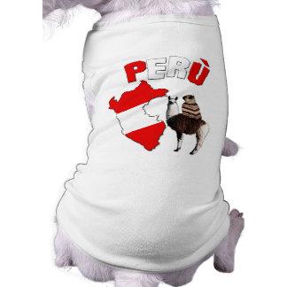 Peru -Pug on a lama- Dog T-Shirt