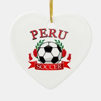 Peru soccer ball designs ceramic ornament