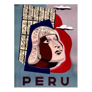 Peru Vintage Travel Poster Restored Postcard