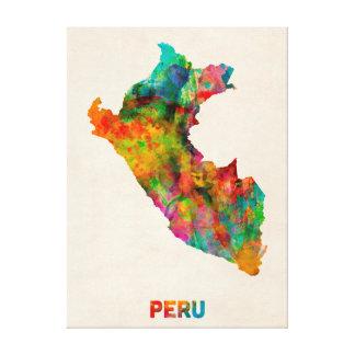 Peru Watercolor Map Canvas Prints