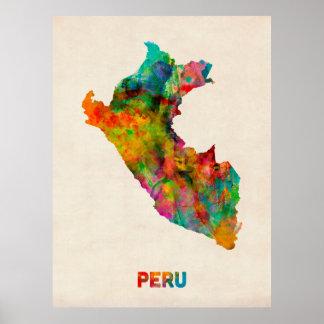 Peru Watercolor Map Poster