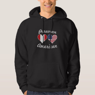 Peruvian American Flag Hearts Hoodie