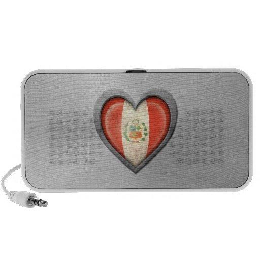 Peruvian Heart Flag Stainless Steel Effect Travel Speaker