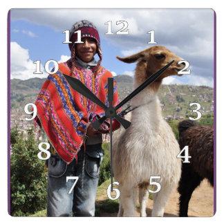 Peruvian Man And Llama Square Wall Clock