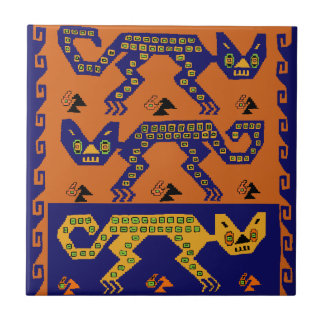 Peruvian Tribal Cats Small Square Tile