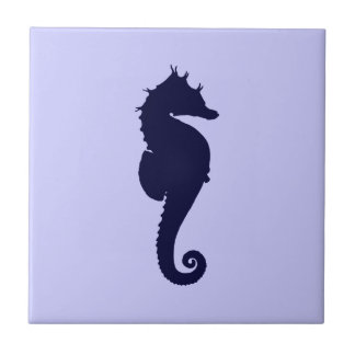 Perwinkle and Dark Blue Sea Horse Small Square Tile