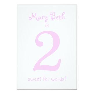 Pesonalized Funny Second Birthday Girl Party 9 Cm X 13 Cm Invitation Card