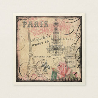 Pesonalized Sweet 16 Eiffel Tower and Chandelier Disposable Serviette