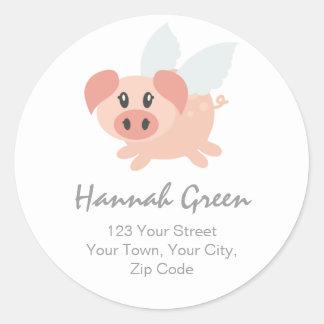 Pesrsonalised Flying Pig Address Stickers