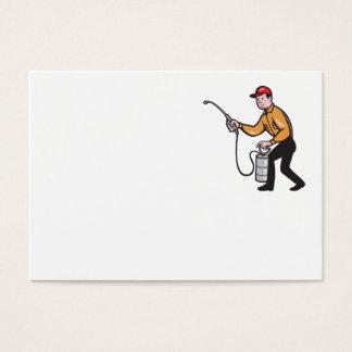 Pest Control Exterminator Worker Spraying Cartoon Business Card