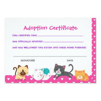 Pet adoption certificate, Kitten Birthday Card