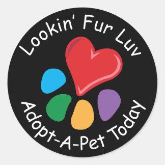 Pet Adoption_Heart-Paw_Lookin' Fur Luv Round Sticker