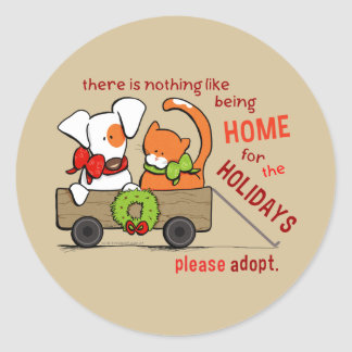 Pet Adoption Patch n Rusty Home for Christmas Round Sticker