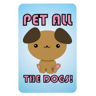 Pet All the Dogs! Kawaii Puppy Rectangular Photo Magnet