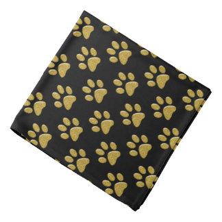 Pet Bandana - Gold Bling Paw Prints on Black