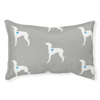 Pet Bed- Italian Greyhound with blue heart Pet Bed