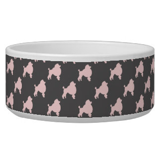 Pet bowl pink poodles on gray background