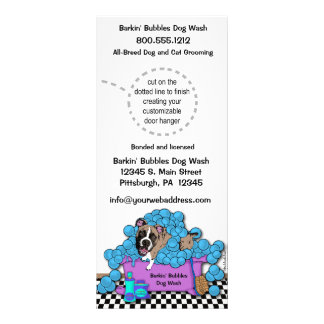 Pet Brindle Boxer Grooming Business Door Hangers Rack Card