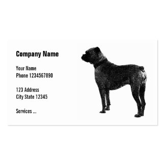 Pet care business cards with boxer dog image