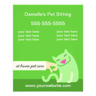 Pet Care Flyer-Petting Cat green 11.5 Cm X 14 Cm Flyer
