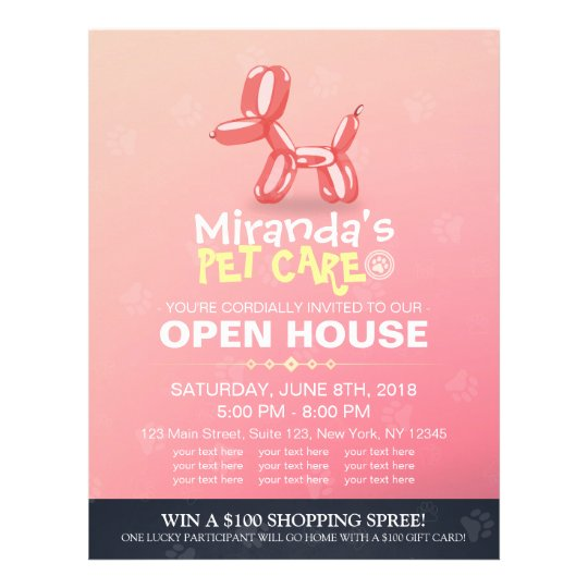 Pet Care Grooming Shop Open House Cute Dog Balloon Flyer
