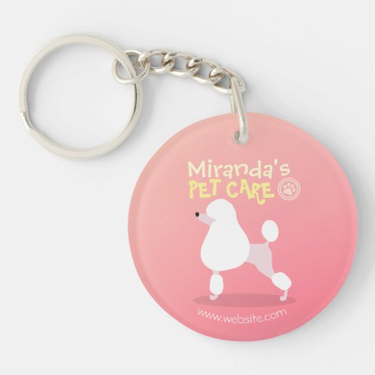 Pet Care Sitting Adorable Cartoon Dog Illustration Key Ring