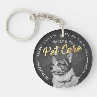 Pet Care Sitting Black and White Dog Oil Painting Key Ring