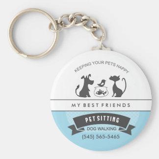 Pet Care & Sitting Custom Business Blue White Basic Round Button Key Ring
