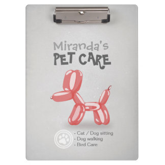 Pet Care Sitting Grooming Adorable Dog Balloons Clipboard