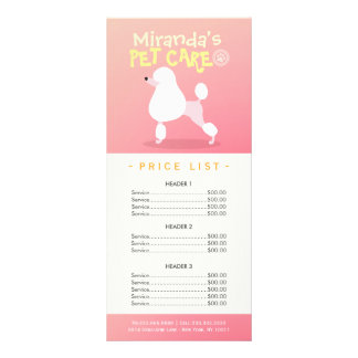 Pet Care Sitting Grooming Beauty Salon Price List Rack Card