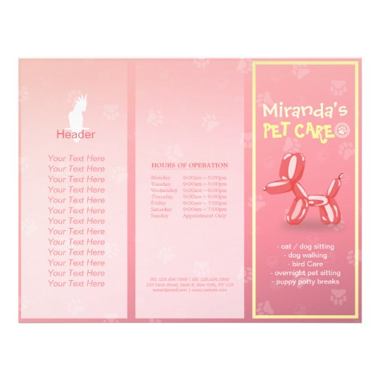 Pet Care Sitting Grooming Salon Tri-Fold Brochures