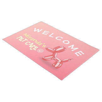 Pet Care Sitting Grooming Welcome Cute Dog Balloon Doormat