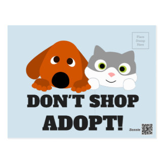 Pet Cat Dog Rescue Don't Shop Adopt! Postcard