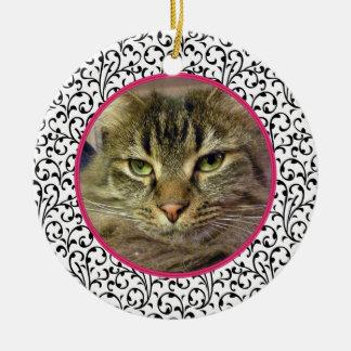 Pet Cat Memorial Chic Floral Photo Christmas Ceramic Ornament