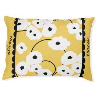 PET CHIC BED_MOD, GIRLY WHITE & BLACK POPPIES PET BED