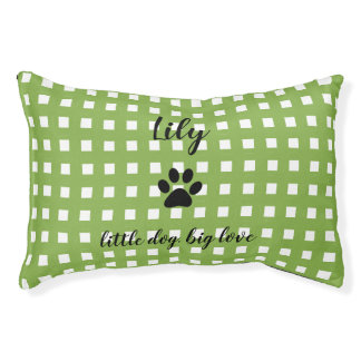 PET CHIC BED_PAW PRINT/GREEN AND WHITE CHECKED PET BED