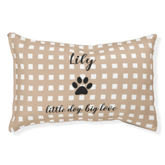 PET CHIC BED_PAW PRINT/HAZELNUT AND WHITE CHECKED PET BED
