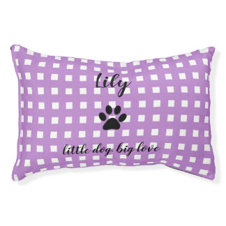 PET CHIC BED_PAW PRINT/LILAC AND WHITE CHECKED PET BED