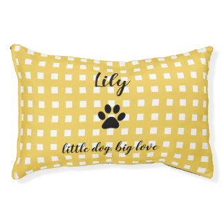 PET CHIC BED_PAW PRINT/YELLOW AND WHITE CHECKED PET BED
