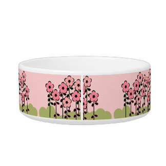 PET CHIC_BOWL_GIRLY PINK/GREEN FLORAL BOWL