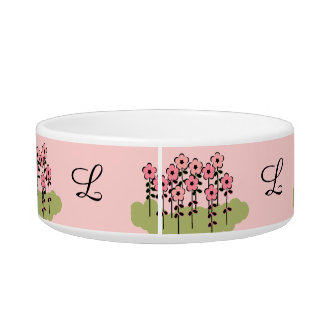PET CHIC_BOWL_GIRLY PINK/GREEN FLORAL/PINK CAT FOOD BOWLS