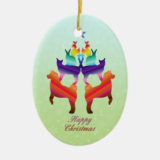 Pet Christmas tree Ceramic Oval Decoration