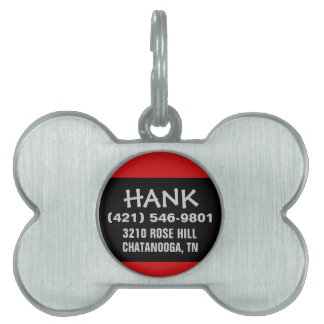Pet Dog ID - Black & Red - For Small Dogs Pet Name Tags