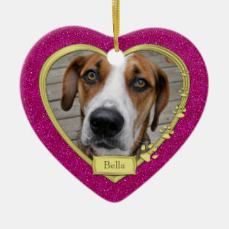 Pet Dog Memorial Photo Christmas Pink Gold Heart Ceramic Heart Decoration